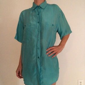 Vintage turquoise silk button up blouse